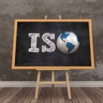 Easel with Word ISO and Globe World – 3D Rendering