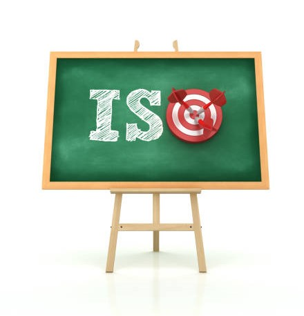 Easel with ISO Word and Target on Chalkboard Frame – 3D Rendering