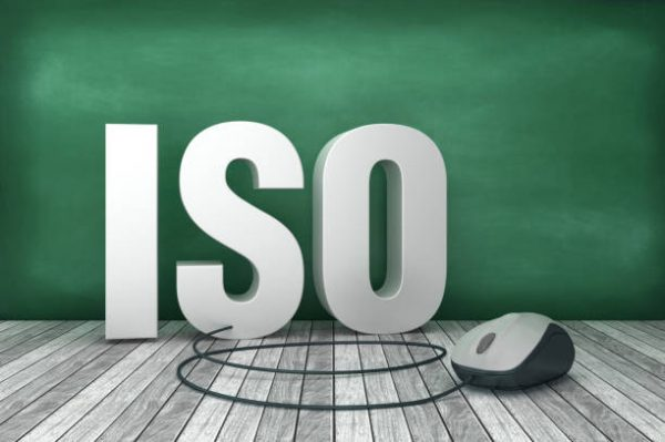 3D Word ISO with Computer Mouse on Chalkboard Background – 3D Rendering