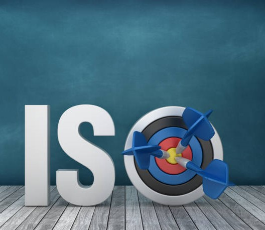 3D Word ISO with Target on Chalkboard Background – 3D Rendering