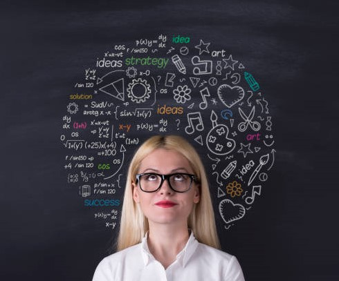 Business woman brain hemisphere on the blackboard