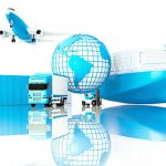 """""""Cargo ship,truck,forklift with cargo container and flying airplane."""""""