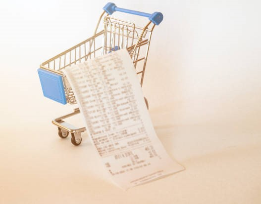 The empty basket of shopping cart is on the white background.