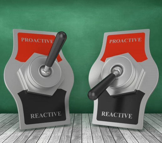PROACTIVE REACTIVE Toggle Switch on Chalkboard Background – 3D Rendering