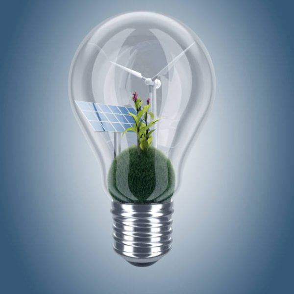 eco light bulb with solar panel and wind turbine